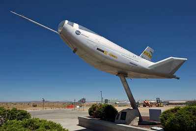 Edwards Air Force Base. Northrop HL-10 on static display at the main NASA Dryden gate.