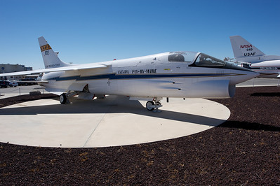 Edwards Air Force Base. This F-8 as been modified by NASA to develop the first Digital Fly-By-Wire system. It is now on static display at Dryden.