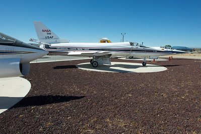 Edwards Air Force Base. X-29 experimental plane on static display.