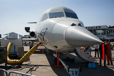 Salon du Bourget 2015. Fokker 100 de la DGA (plateforme de test pour les essais en vol, notamment pour le radar du Rafale).