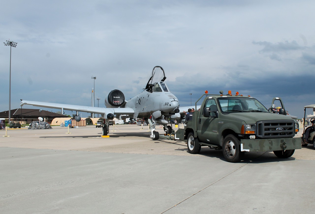 Maryland A-10 [78-0612] hooked to a tow rig.