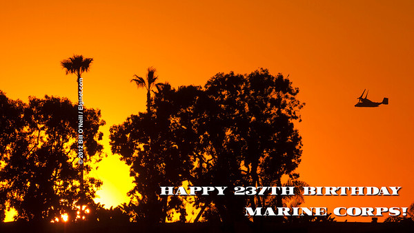 Happy 237th Birthday United States Marine Corps! Photo - A Marine Corp V-22 Osprey cruising over Mission Bay in San Diego on February 22, 2011