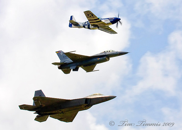 Heritage flight with P-51, F-16 and F-22