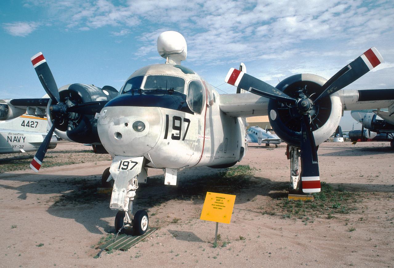 """Pima Air & Space Museum, circa 1988. Grumman S2F-1 """"Tracker""""."""