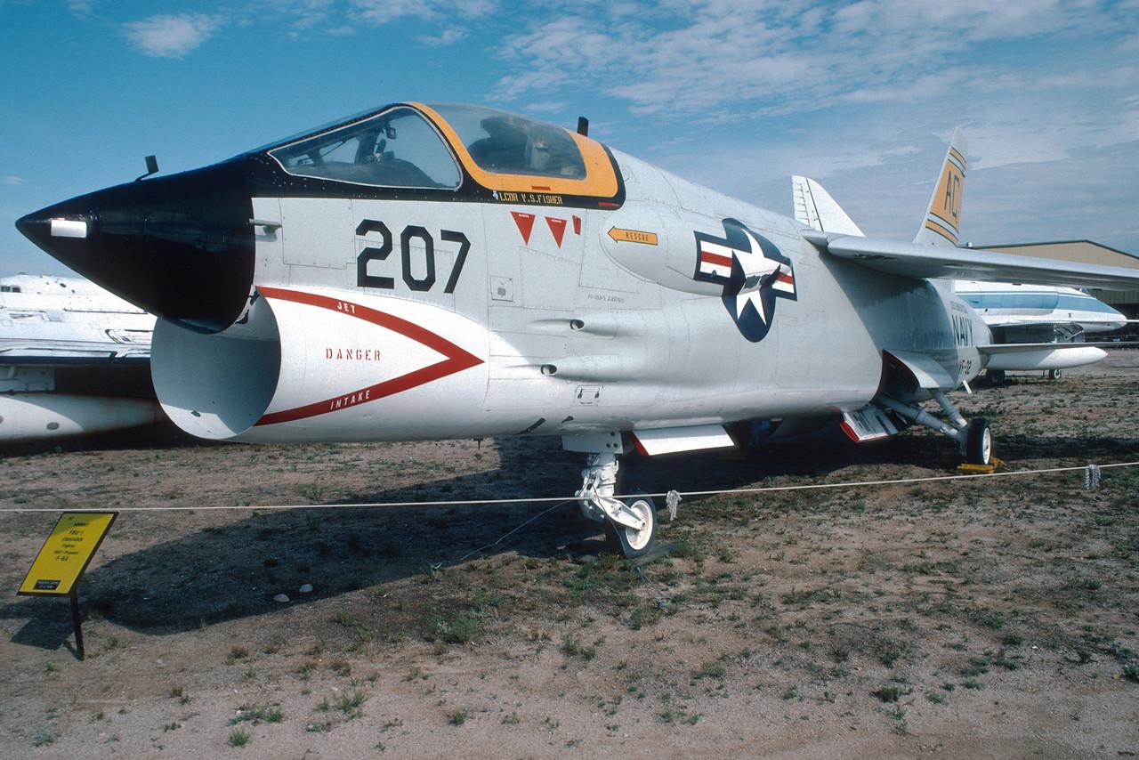 "Pima Air & Space Museum, circa 1988. Vought F8U-1 ""Crusader""."