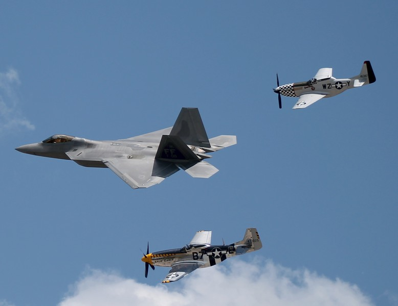 Heritage flight; F-22 Raptor, P-51D, TF-51