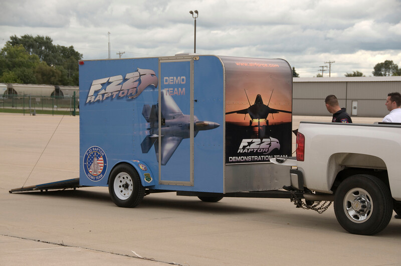 Look at this itti-bitti trailer!  I've seen NASCAR support trailers 5 TIMES this size! lol!<br /> <br /> Rockford Airfest 2009 Practice - Aug. 21, 2009
