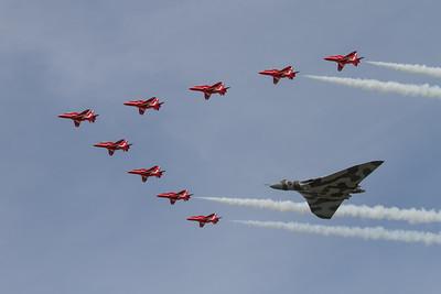 Avro Vulcan B2 and The Red Arrows - BAe Hawk T1/T1As (Royal Air Force Aerobatic Team)