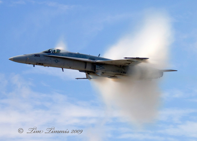 F-18 almost breaking the sound barrier