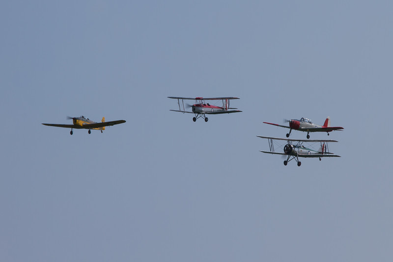 1933 - Avro Tutor / 1940 - de Havilland DH.82a Tiger Moth / 1937 - Miles Magister / De Havilland DHC-1 Chipmunk T10