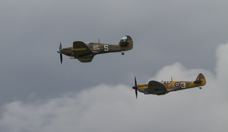 1944 Supermarine Spitfires LF.IXc and 1944 - Hawker Hurricane IIc