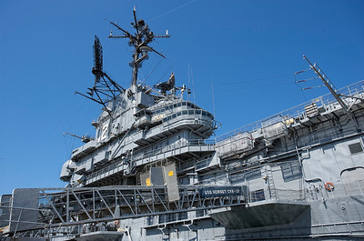USS Hornet Island. Picture taken from the peer.