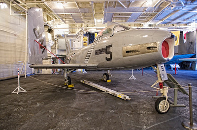 USS Hornet Museum. orth American FJ-2 Fury - navalized version of the swept-wing F-86 Sabre.