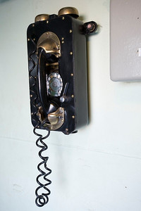 Vintage phone hanging at the deck level.