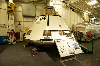 USS Hornet Museum. Apollo capsule used for suborbital space flights to test the heat shield designed for Apollo capsules; recovered by HORNET in 1966.