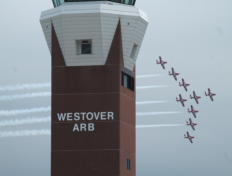 Canadian Snowbirds CT-114s pass the tower.