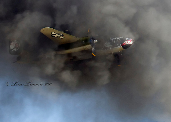 B-25 passing through some pyro smoke.