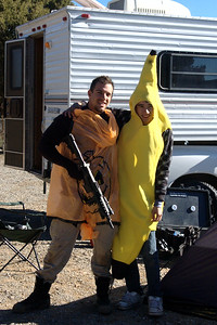 The first person who came to the Halloween game dressed as a pumpkin got in free.  About the banana.....   ummm yeah.