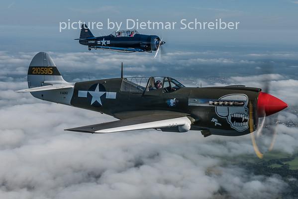 2015-08-09 F-AZKU P40 and D-FHGV T6 Texan