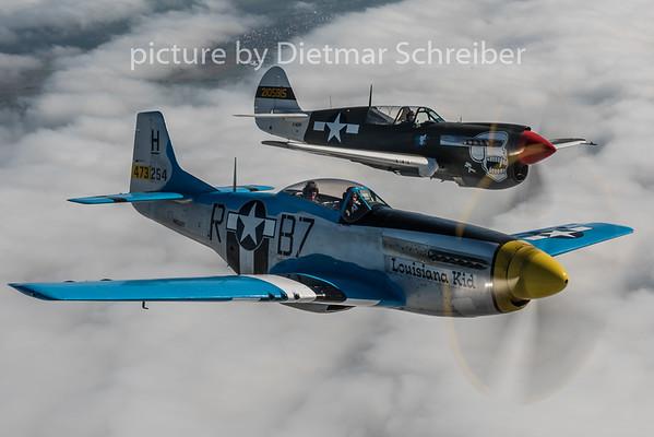 2015-08-29 N8328T P51 and F-AZKU P40