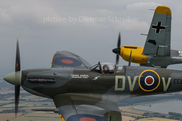 2019-07-09 G-VMIJ (EE602) Spitfire / G-AWHH (Weisse 9) Hispanio Buchon