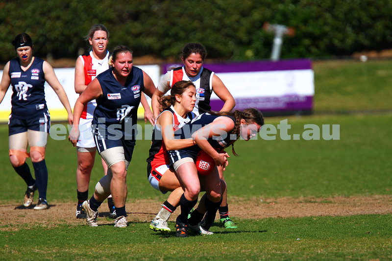 23-8-15. WVFL Eastern Division. Preliminary Final at Frankston. Ajax Jackettes 9.9.63 def Rosebud 5.2.32. Photo: Peter Haskin