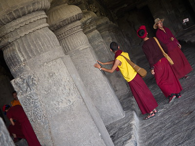 The Ellora Caves attract devotees from around the world on a regular basis.