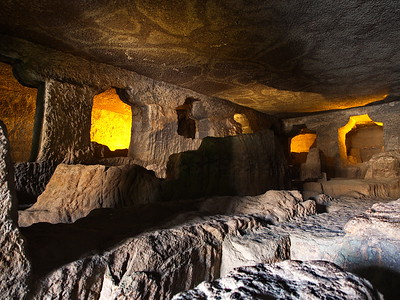 This is an HDR image of one of the 'unfinished' caves. The orange backlighting is part of the cave display.