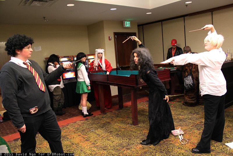 Harry Potter, Bellatrix Lestrange, and Draco Malfoy