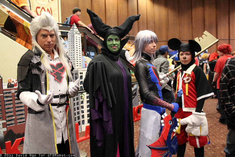 Ansem, Maleficent, Sora, and Mickey Mouse