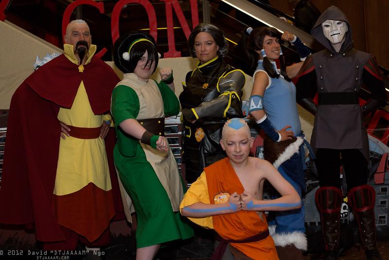 Tenzin, Toph Beifong, Lin Beifong, Korra, Amon, and Aang