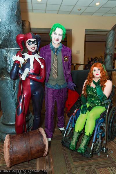 Harley Quinn, Joker, and Poison Ivy