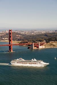 Dawn Princess (Princess Cruises) passes through the Golden Gate, San Francisco
