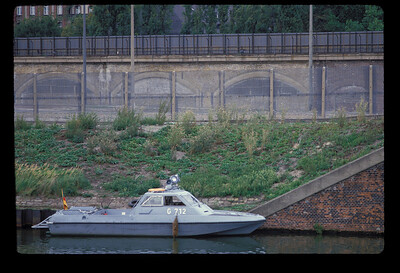 NVA boat on the Spree, Berlin, GDR