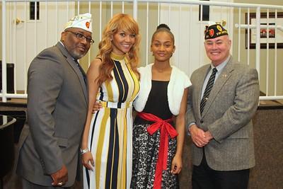 Rae'Mah Henderson with Mom, Rick Waller, Division II Commander & Ron Bradstreet, District 21 Commander