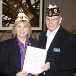 Alabama Department Commander presenting 110% Membership Certificate to Post 555 Adjutant, Ron Koonce