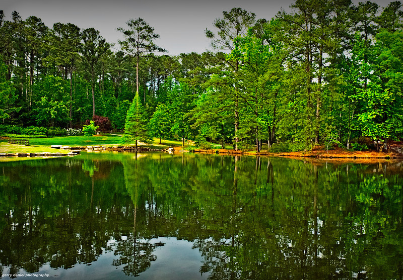 Lake scene and reflection at Aldridge Gardens, Hoover, AL