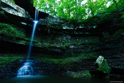 wide angle view of the waterfall at Cane Creek Canyon Nature Preserve, Tuscumbia, AL