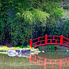 Red bridge at the Japanese gardens at Birmingham Botanical Gardens, Birmingham, AL