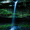 vertical view of the waterfall at Cane Creek Canyon Nature Preserve, Tuscumbia, AL
