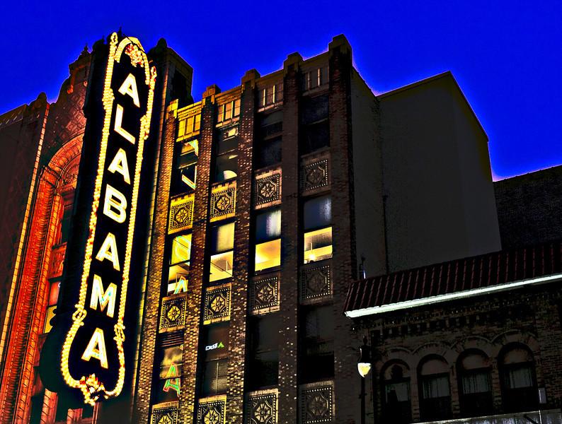 the Alabama Theatre sign at night, Birmingham, AL
