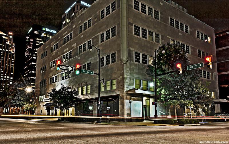 the corner of 3rd Avenue North and 19th Street at night, Birmingham, AL