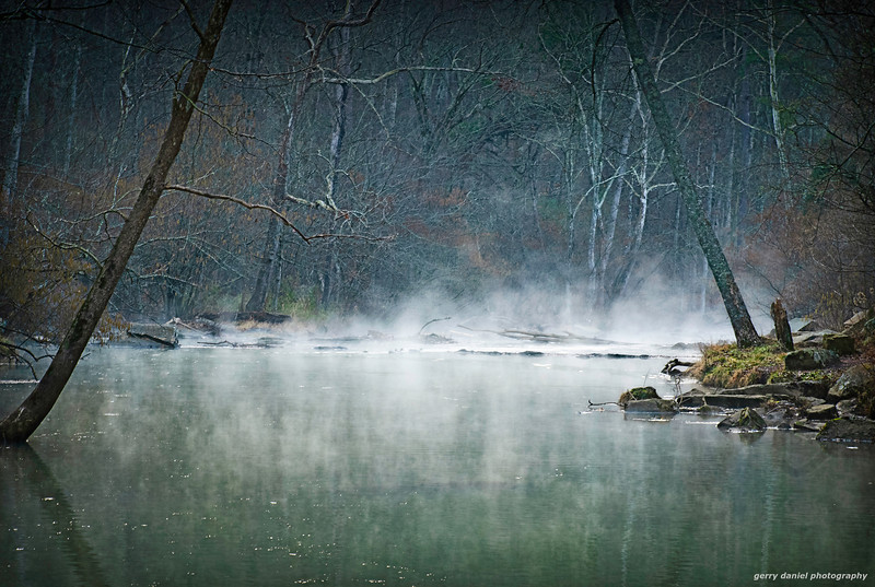 morning mist on the creek at sunrise at Tannehill State Park in Alabama