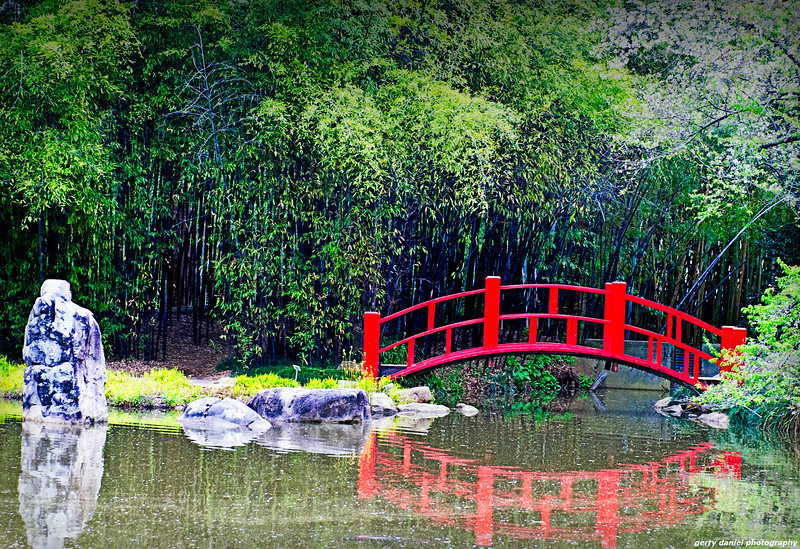 Red bridge at the Japanese gardens at Birmingham Botanical Gardens, Birmingham, AL