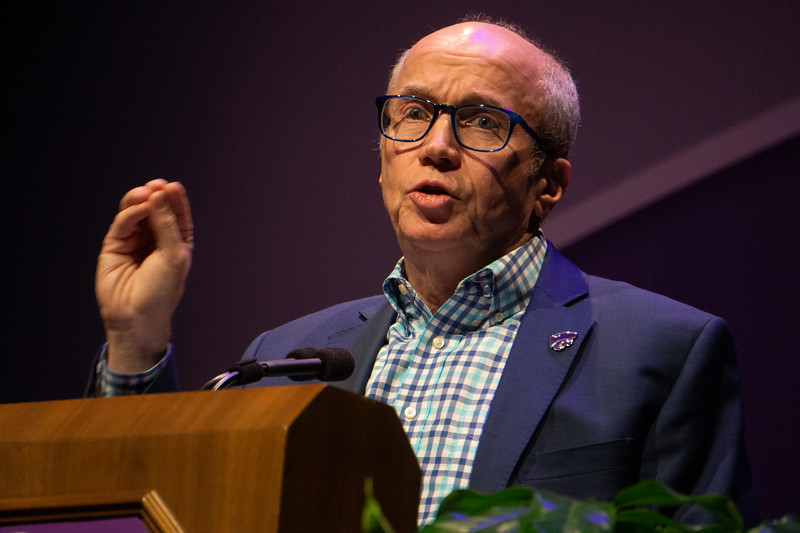 Alan Murray, CEO of Fortune, speaks at 191 Landon Lecture at Kansas State University on Sept. 27, 2019. (Abigail Compton| Collegian Media Group)