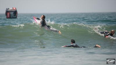 Alana Blanchard Freesurfing in Sexy Black Wetsuit Huntington Beach Pier Van's US Open