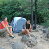 Our first night camping in Shasta at Stewart Mineral Springs by the river.