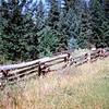 Rail fence north of Williams Lake, British Columbia. <br /> July 10, 1958.