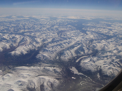 Scenic view from plane of Alaskan and Canadian mountains