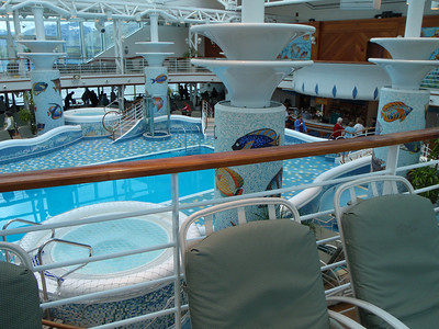 Cruise ship: outdoor pool and mosaics